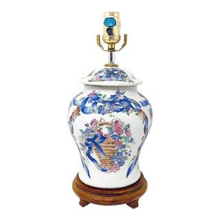 Vintage Ginger Jar Lamp With French Flower Basket & Ribbon Design For Sale