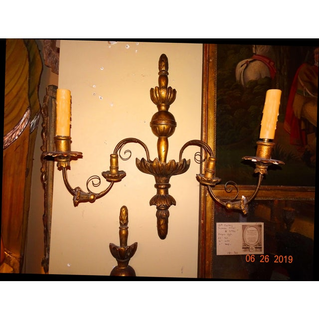 19th Century Pair of French Gilt Wood Sconces For Sale - Image 11 of 11