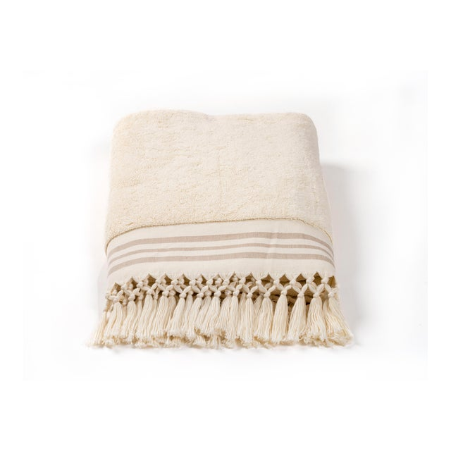2020s Plush & Bare Handmade Organic Cotton Bath Towel in Ecru with Stripes For Sale - Image 5 of 7