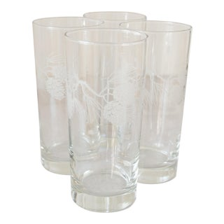 Vintage Etched Pinecone Collins Glasses - Set of 4 For Sale