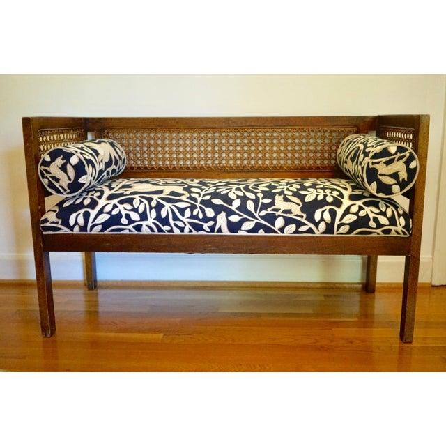 Mid-Century Robert Allen Upholstered Cane Settee For Sale - Image 13 of 13