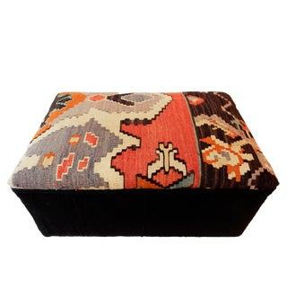"""Custom Made Tribal Kilim Rug & Mud Cloth Ottoman 22.5 """" W by 12.5 """" H For Sale"""
