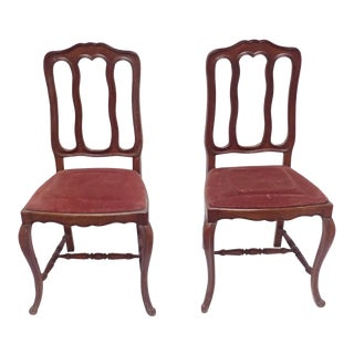 19th Century French Country Oak Chairs -a Pair For Sale