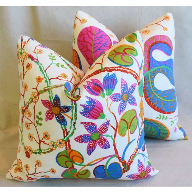 "Feather Designer Josef Frank ""Teheran"" Floral Linen Feather/Down Pillows 18"" Square - Pair For Sale - Image 7 of 11"