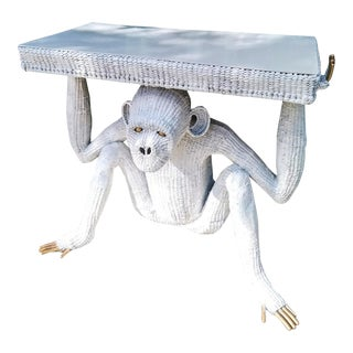 Mario Torres Lopez Vintage Extra Large White Wicker Monkey Hall Console Table For Sale
