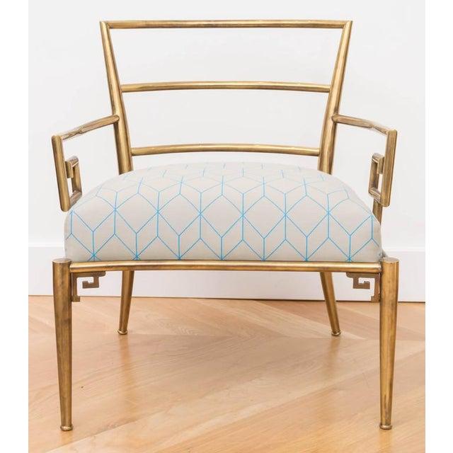 Brass Italian Greek Key Armchair - Image 2 of 6