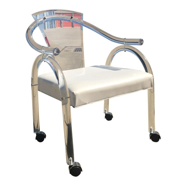 Charles Hollis Jones Lucite Rolling Chair - Image 1 of 5
