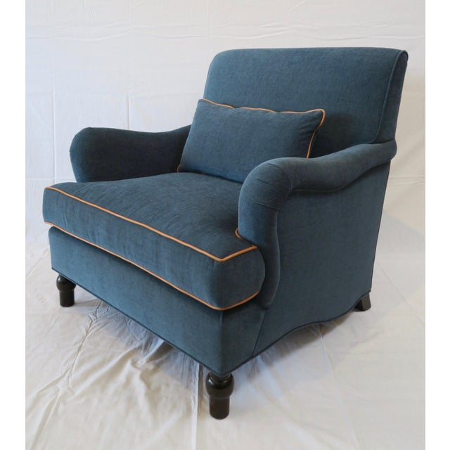 Custom Upholstered Teal Blue Armchair - Image 2 of 7