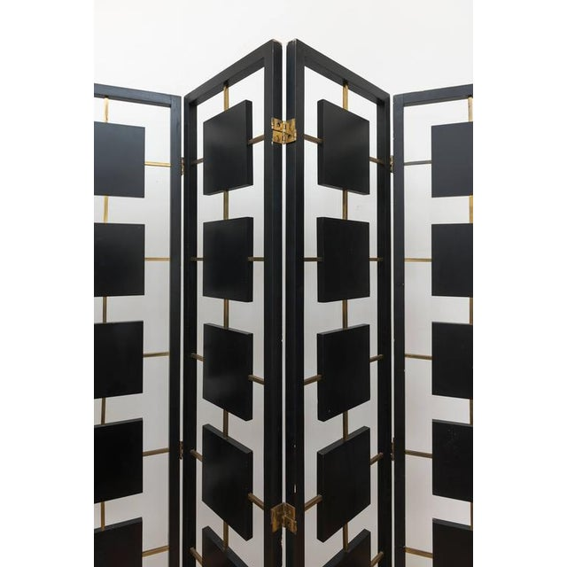 1960s Brass & Black Lacquer Six-Panel Screen For Sale - Image 5 of 11