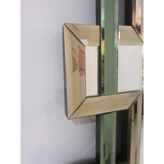 Contemporary Italian Geometric Murano Glass Mirror With Aqua Green Ribbon For Sale - Image 12 of 13