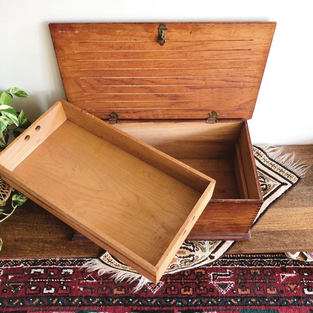 Antique 1920s oak filing box with beautiful dovetail joints and brass hardware. Interior compartment can be removed for...