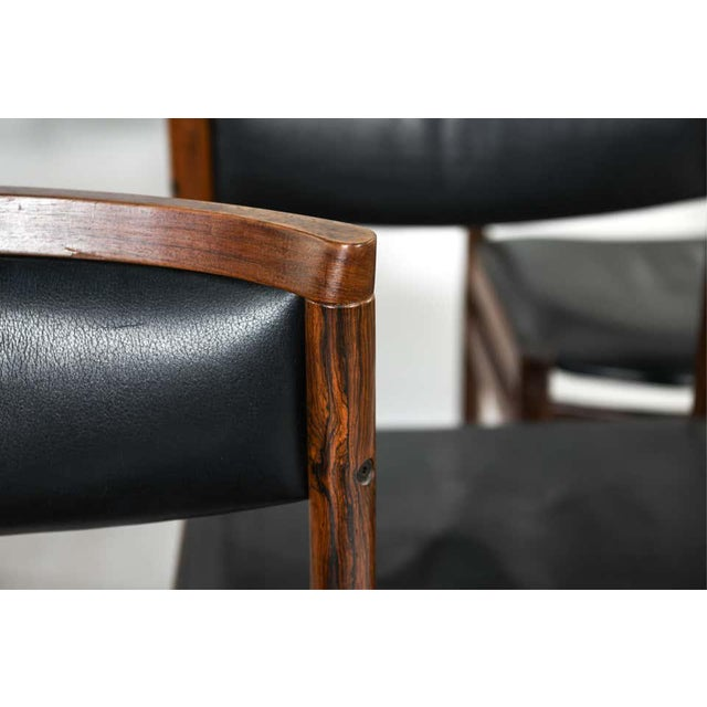 Six Mid-Century Modern Danish dining chairs by Soro Stolefabrik. Each branded SAX Made in Denmark. These finely...