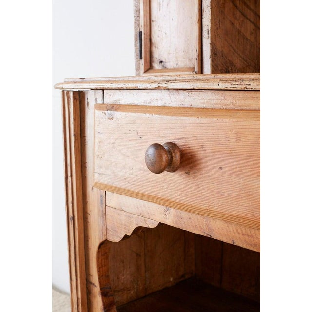 19th Century English Pine Cupboard Dresser With Rack For Sale - Image 11 of 13