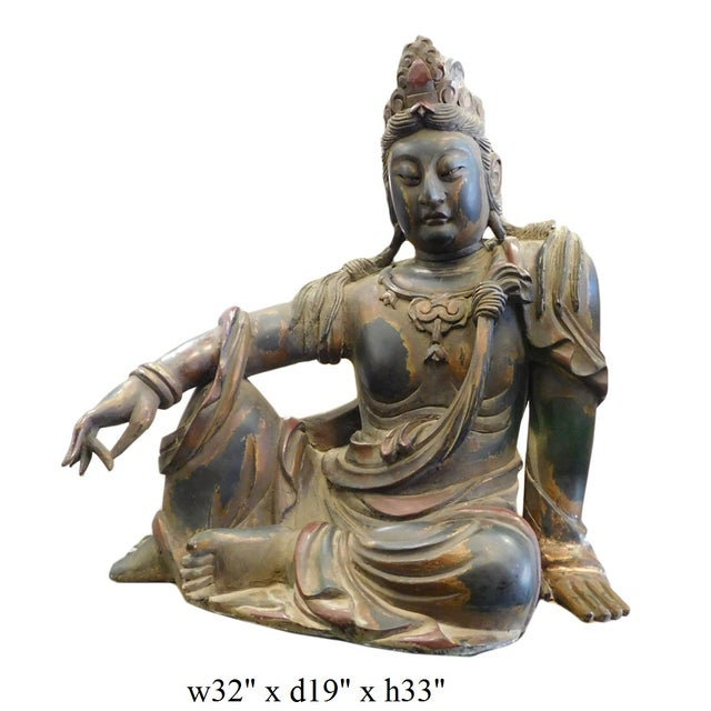 Distressed Golden Black Wood Kwan Yin Statue - Image 8 of 10