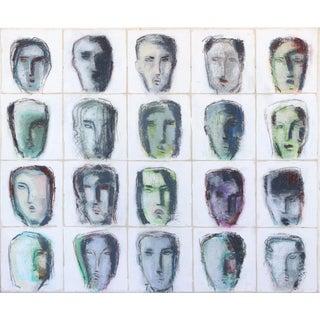 "Bernhard Zimmer ""Faces 43 (Kopfbild 43)"" Original Painting For Sale"