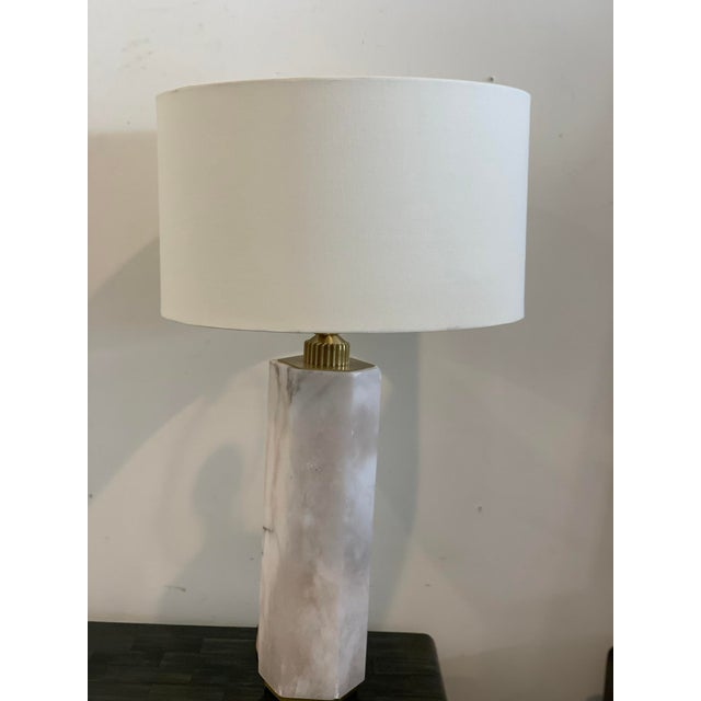 Hexagonal Alabaster Table Lamp For Sale - Image 9 of 9