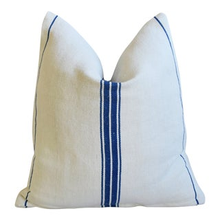 "French Farmhouse Blue Striped Grain Sack Feather/Down Pillow 20"" X 21"""