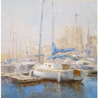 "Beckham Framed Oil Painting ""Sloop"", Contemporary Blue Seascape For Sale"