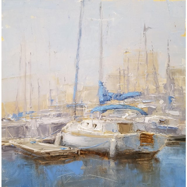 """Beckham Oil Painting """"Sloop"""", Contemporary Blue Seascape For Sale"""