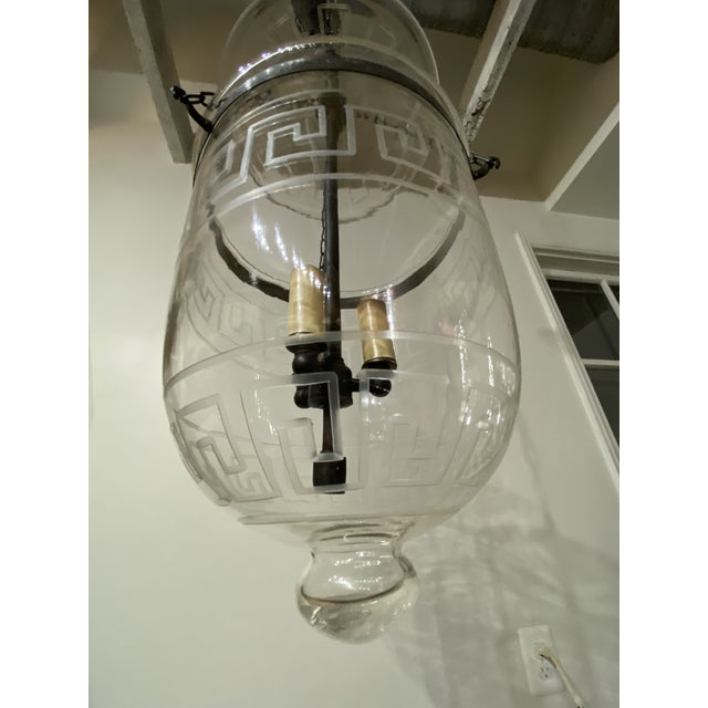 Vintage Smoking Bell Lantern With Greek Key For Sale - Image 9 of 12