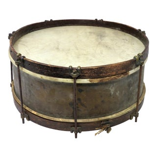 Antique 1890s Brass Marching Snare Drum For Sale