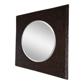 Contemporary Patterned Walnut Wall Mirror