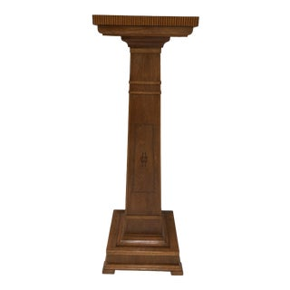 Mission Style Tapered Wood Pedestal For Sale
