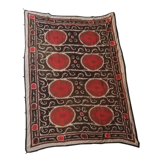 Vintage Hand Embroidered Suzani Bed Cover 7x11ft For Sale