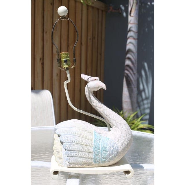 Vintage 1980s Plaster Bird Table Lamp For Sale - Image 10 of 10
