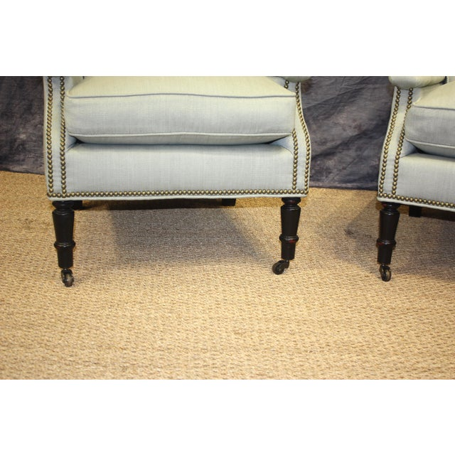 Blue Scalamandre Furniture Club Chairs- A Pair For Sale - Image 8 of 11