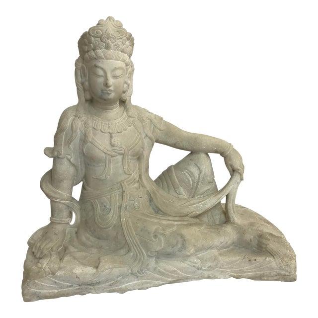 Guanyin / Guan Yin Bodhisattva Carved Marble Immortal Reclining Buddha Figure For Sale