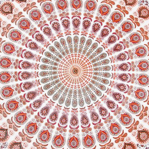 Boho Orange, Red & White Beach Blanket - Image 3 of 6