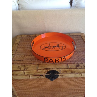 Orange Lacquered Hermes Inspired Bar Tray Preview