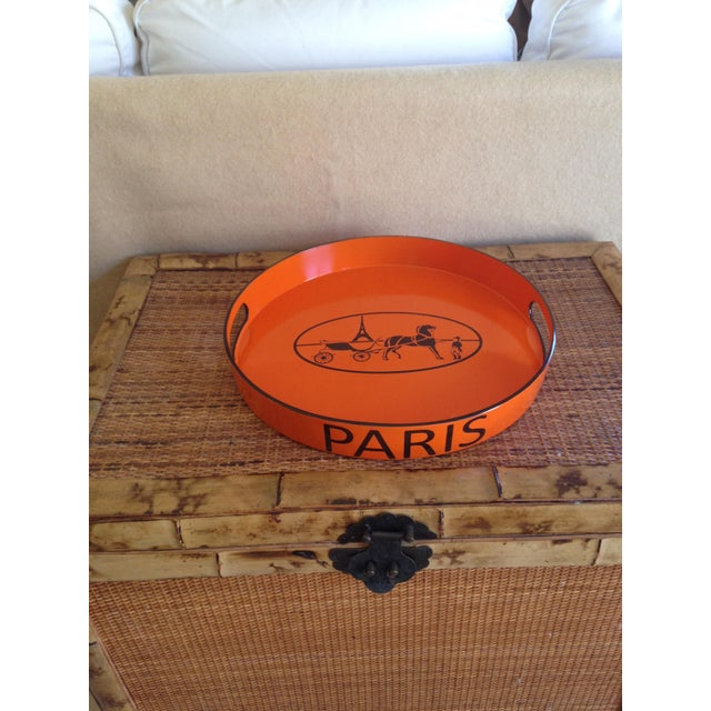 Lovely orange and espresso brown Hermes inspired serving/bar tray. Finished with lacquer gloss for durability and...