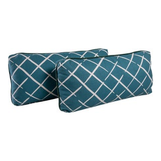Teal Lattice Lumbar Pillows With Contrast Welt- A Pair For Sale
