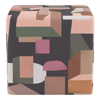 Cube Ottoman in Ink Melio For Sale
