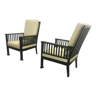 Austrian Secession Pair of Lounge Chairs Fully Restored in Canvas Cloth For Sale