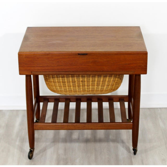 4db22d546 Brown 1950s Vintage Ejvind Johansson Danish Mid Century Modern Teak Sewing  Cabinet Side End Table For