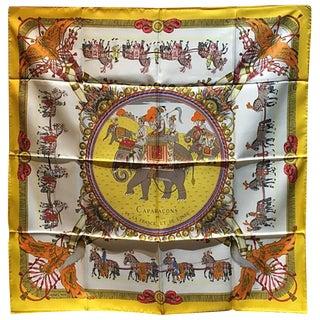 Hermes Vintage Caparacons De La France Silk Scarf in Yellow For Sale