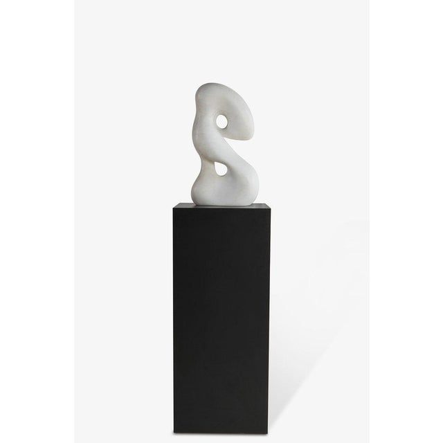Black Biomorphic Carrara Marble Sculpture on Pedestal For Sale - Image 8 of 8