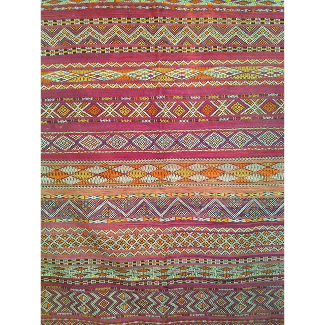 """1950s Vintage Moroccan Kilim 5' 9"""" X 10' For Sale - Image 5 of 11"""