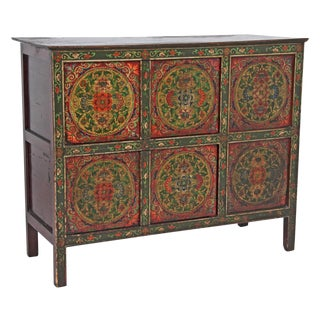 Mid 19th Century Vintage Tibetan Painted Cabinet For Sale