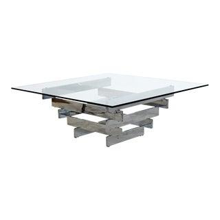 Mid Century Modern Paul Mayen Chrome Steel Glass Geometric Coffee Table 1970s For Sale