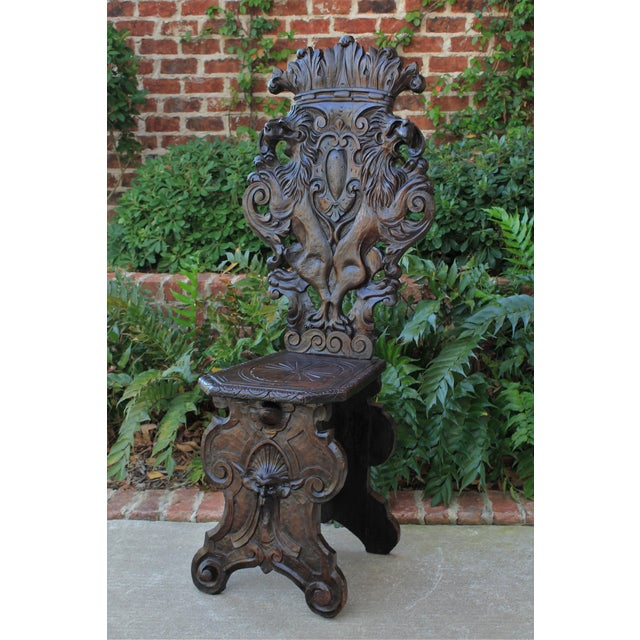 Wood Mid 19th Century Antique Italian Carved Walnut Sgabello Chair For Sale - Image 7 of 13