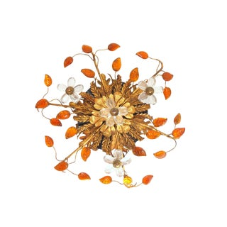 C1950's Maison Bagues Orange Crystal Petal Leaf & Ormolu Light Fixture - 6 Lights