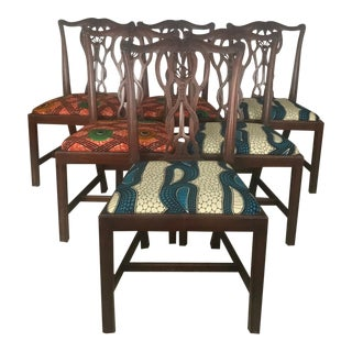 Chippendale African Wax Fabric Chairs - Set of 6