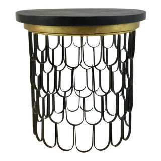 Arteriors Modern Black and Gold Marble and Iron Side Table For Sale
