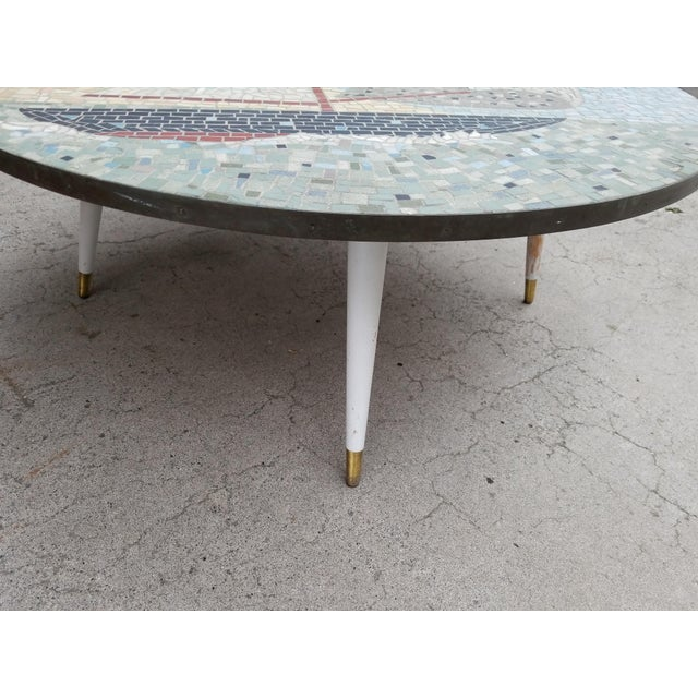 Exceptional Mosaic Tile Coffee Table With Sail Boat For Sale In San Francisco - Image 6 of 13