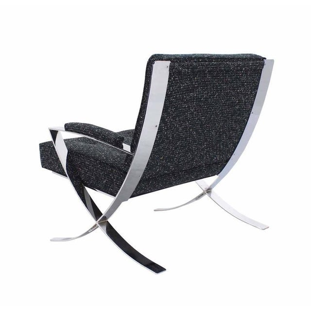 Early 20th Century Scissor X-Base Chrome Lounge Chair with New Upholstery For Sale - Image 5 of 9