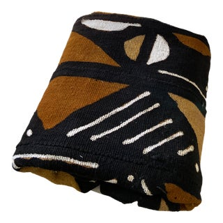 "African Brown/Mustard/Black/White Mud Cloth Mali 40"" by 67"" For Sale"